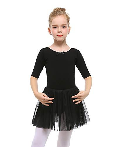 STELLE Toddler/Girls Cute Tutu Dress Ballet Leotard for Dance, Black, M(5-6Y)