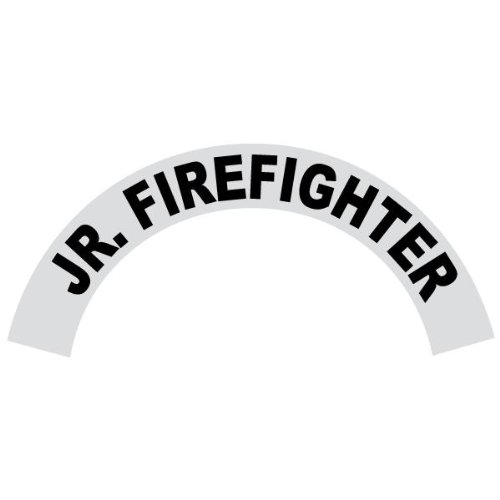 IMPORTANT NOTE: This decal is not for Petzl Helmets. 6 Pack - Jr. Firefighter - Reflective Standard Helmet Black Crescent Decals