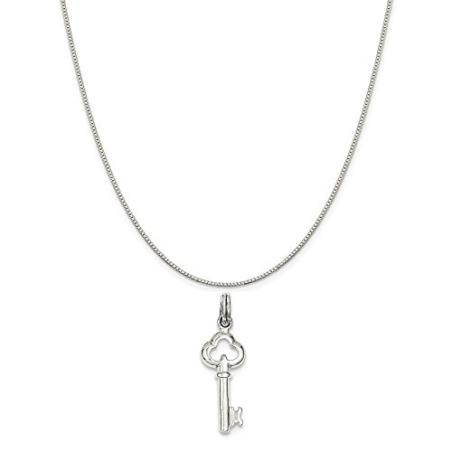 Charm on a Sterling Silver Box Chain Necklace, 16