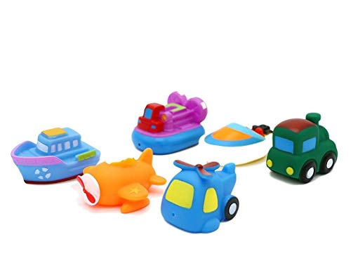 (LOZUSA Baby Bathtub Toys 6 Pieces Land Water Air Rubber PlaySet Toddlers Train, Helicopter, Airplane, Hovercraft, Tug Boat Motor Boat Best Floating Toys Kids 1 Year Up)