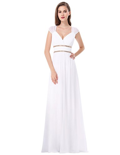 Beaded Empire Waist Prom Dress - Ever-Pretty Womens Chiffon Sleeveless Beaded Empire Waist Prom Dress 16 US White