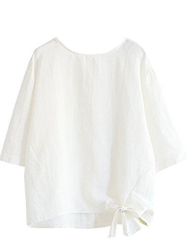 Minibee Women's Cotton Linen Blouse Loose Tunics Tops Shirt M White ()