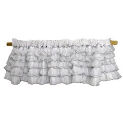 Layered Window Valance with Colored Trim, Color: Grey by Baby Doll