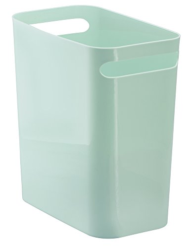 mDesign Slim Rectangular Small Trash Can Wastebasket, Garbage Container Bin with Handles for Bathrooms, Kitchens, Home Offices, Dorms, Kids Rooms — 12 inch high, Shatter-Resistant Plastic, Mint (Shelf With Can Garbage)