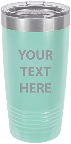Personalized Add Your Custom Text Insulated Tumbler 20 Oz Coffee Mug Customizable (Teal)