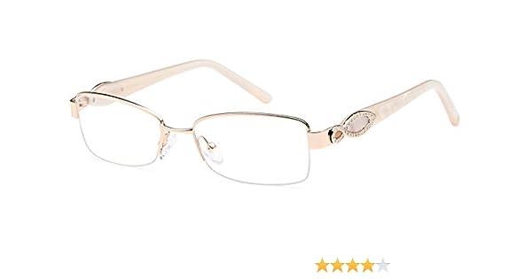 6989cc12b1 Amazon.com  DALIX Womens Super Star Semi-rimless Rx-able Eye Glasses 53-17- 135 (Gold)  Clothing