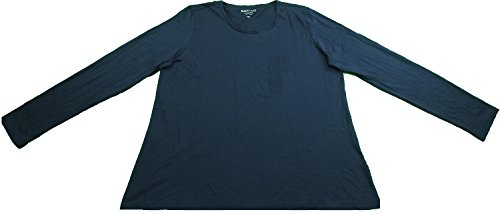 Ellen Tracy Company Ladies Size XXL Long Sleeve Scoop Neck Henley Shirt Blue