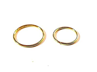 10mm Fine Pure Silver Piercing Nose Ring Hoop Split Body Ring 22g 0.6 mm