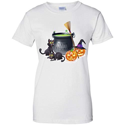 PHILIP Stores Happy Halloween 100% Cotton T-Shirt for Women White -