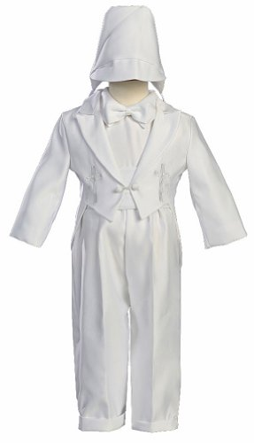 White Round Tail Satin Christening Baptism 5 Piece Tuxedo Accented with an Embroidered Cross and Hat - Size XL (18 Month) - Lito Satin Tuxedo