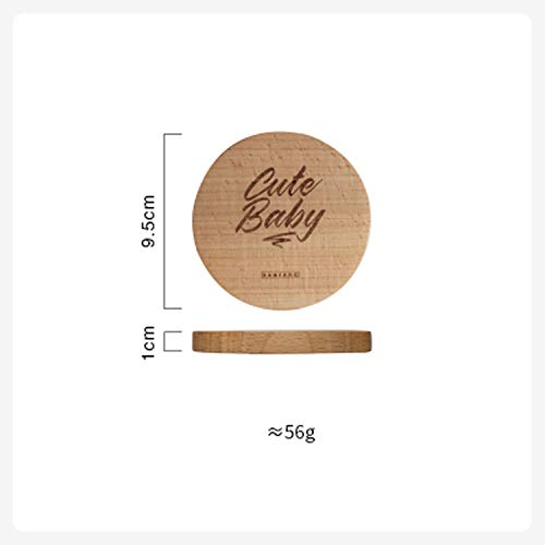 Beech Wood Insulation Non-slip Coaster Anti-scalding Table Mat Office Tea Cup Mat Thick Wooden Small Coasters,2 ()