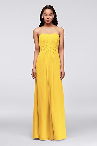 MORE COLORS Long Strapless Chiffon Bridesmaid Dress with Pleated Bodice Style F15555, Sunbeam, 4 price tips cheap
