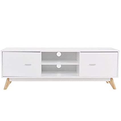 TANGKULA Modern TV Stand Wood Storage Console Entertainment Center W/ 2  Doors And Shelves White