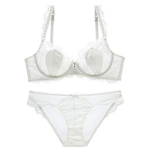 White Mesdames mince Froncé V Ultra gorge Ensemble Transparent Uzanesx Dentelle 75d Soutien color Size Deep Sexy SxTwyq4BO