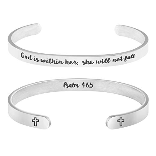 Memgift Christian Bracelets for Women Inspirational Gifts for Her Bible Verse Jewelry Cuff Bangle God is Within her, she Will not Fall Psalm 46:5