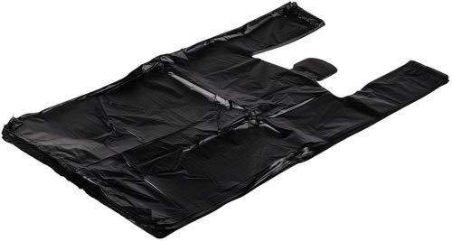 ROYAL Large Plastic Grocery T-shirts Carry-out Bag Plain Black 12 X 6 X 21 (1000ct, Black)