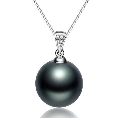 (Fashion Jewelry@ 11-12mm Black Tahitian Saltwater Pearl & 18 ct/750 White Gold Buckle Quality Round Pearl Pendant Women Necklace)