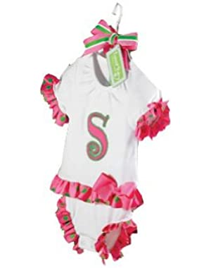Baby Girl Pink Initial 100-Percent Cotton Bodysuit Dress, 0 - 6 Months