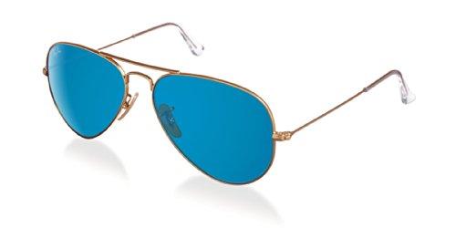 Ray-Ban RB3025 Aviator Classic Flash Mirrored Sunglasses, Matte Gold/Blue Flash, 55 mm (Ray-ban 3025 55)