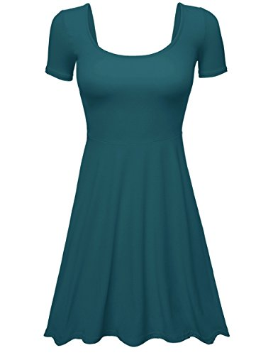 TL Womens Solid Colors Cap Sleeve Scoop Neck Back Fit Flare A-Line Flowy Dress 01 TEAL S