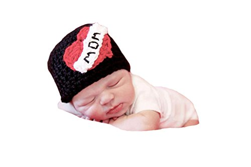 [CX-Queen Baby Photography Prop Crochet Heart I Love Mom Newborn Hat] (But Mommy Costumes)