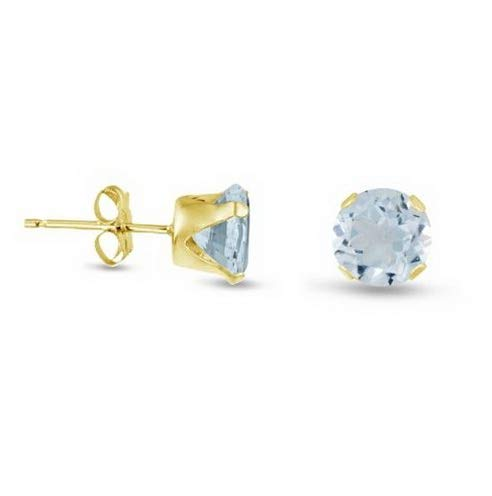 Campton Simulated Aquamarine Stud Earrings - Gold Plated Silver Round- March Birthstone | Model ERRNGS - 13970 | 7mm - Extra Large