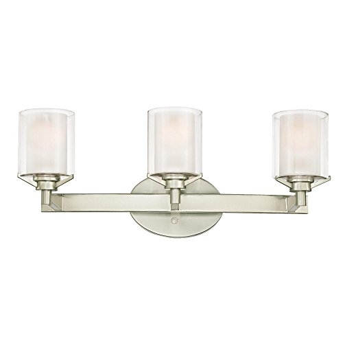 Westinghouse Lighting 6330900 Glenford Three-Light Indoor Wall Fixture, Brushed Nickel Finish with Frosted Inner and Clear Glass Outer Shades Brushed Nickel Indoor Wall