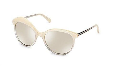 SHAUNS California Tacit Asymmetrical Sunglasses Snow to Crystal/Super Silver Mirror Lens - White Shaun Sunglasses