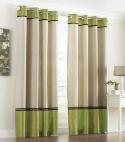 Jackson Faux Silk Eyelet Curtains In Lime Green X Amazon