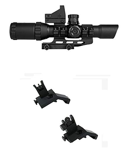 M1SURPLUS Tactical Combo Kit with REDCON 1-4x28 Scope (Illuminated Reticle) + Micro Dot Backup Sight + Ring Mounts + Flip-Up Backup Sights/Fits Weaver Picatinny on Ruger COLT Mossberg Hk Rifles