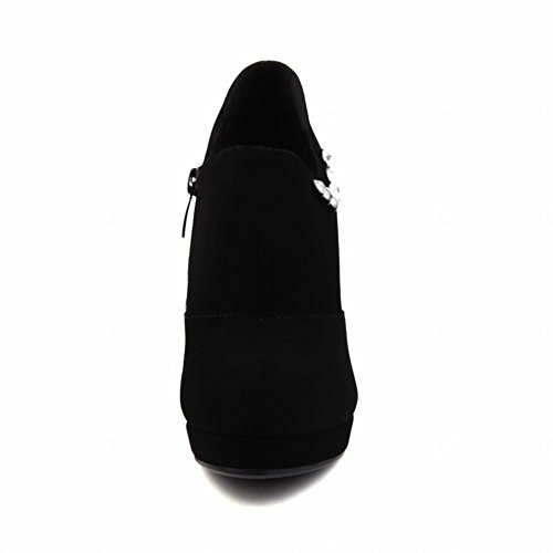 Mee Shoes Damen Stiletto Nubukleder Strass Plateau Knöchelstiefel Schwarz