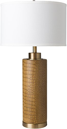 Surya Buchanan Lamp (Natural Brown) - Brown Faux Crocodile Table Lamp