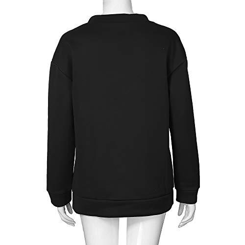 Aimee7 Top Chic lunghe T a Printed Fashion Tee Camicia maniche Donna Camicetta Shirt nera fnRrBgqfW