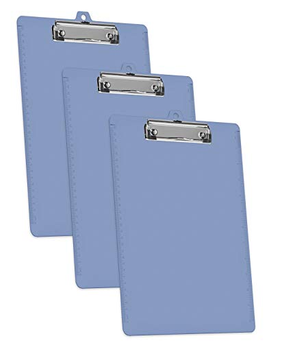 Acrimet Clipboard Letter Size A4 (13 3/8 x 9 7/16) Low Profile Clip with Side Rulers (Plastic) (Solid Blue Color) (3 Pack)