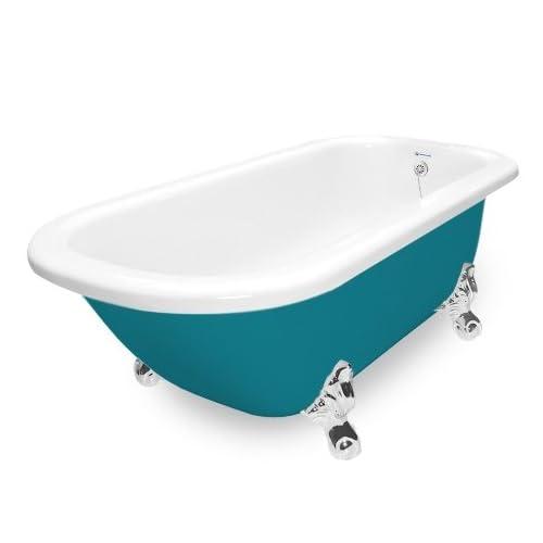 hot sale American Bath Factory T061A-CH-P & DM-7 Maverick 67 in. Splash Of Color Acrastone Tub & Drain44; Chrome Metal Finish44; Large