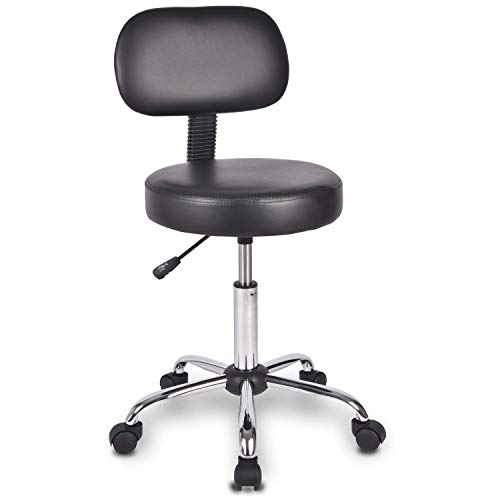 Urest Swivel Stool with Wheels Adjustable Tall Desk Rolling Up Stool Office Chair for Shop Salon Esthetician Workbench Spa Lab Workshop Musician Task Workpro Exam in Black
