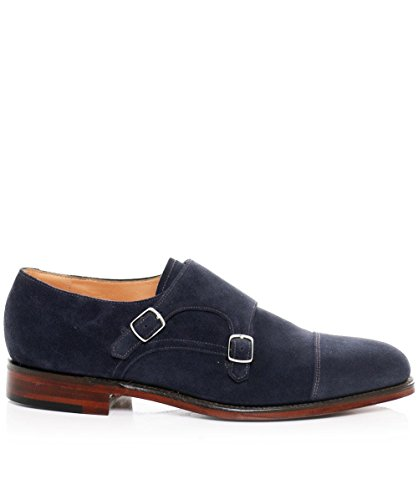 Loake Mens Suede Cannon Double Monk Sling Shoes Navy Navy