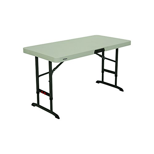 Lifetime Products 80387 4' Commercial Adjustable Folding Table, Almond