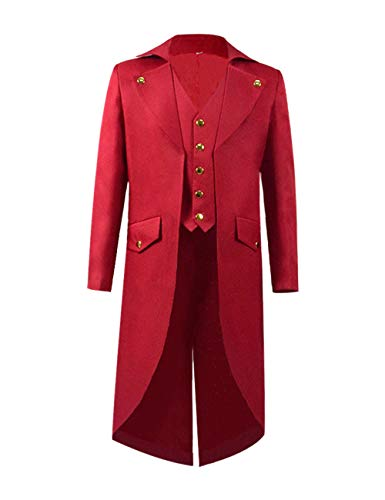 Steampunk Vintage Tailcoat Jacket Gothic Victorian Frock Black Steampunk Coat Uniform Costume for Child (Custom-Made, Red)]()