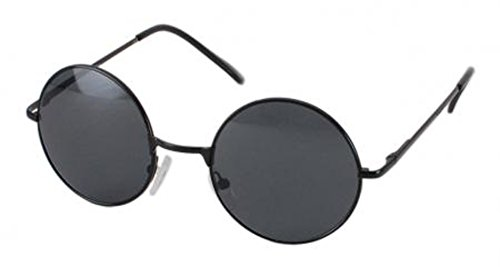 Black Frame With Black Lenses Adults Retro Round Sunglasses John Lennon Style Vintage Look Quality UV400 John Lennon Style for Men - Large Lenses Circle