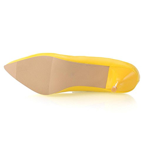 TAOFFEN Women Pointed Toe Court Shoes Small Heel Yellow 1YDzOG0yD