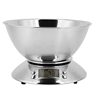 Electronic Digital Food Meat Weighing Scale,Jadpes Multifunctional Household High-Precision Stainless Steel Kitchen Scale with Bowl Scale Baking Scale with Alarm Clock