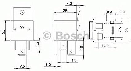 Bosch 0986AH0081 0986AH0080 - Relé de potencia (12 V, 30 A, 5 terminales, IP53, resistencia a temperaturas de -40 a 125 °)