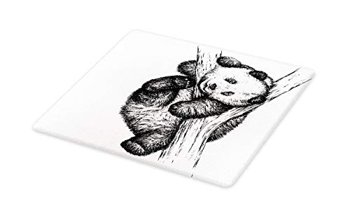 Ambesonne Animal Cutting Board, Little Panda Bear on Tree Branch Fury Tropical Jungle Zoo Sketchy Print, Decorative Tempered Glass Cutting and Serving Board, Large Size, Black and White