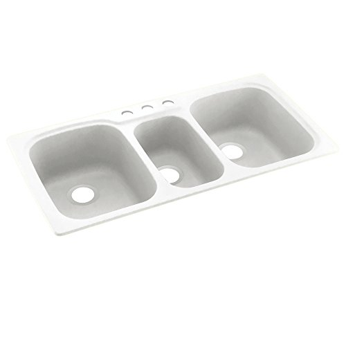 Swaoi|#Swanstone KS04422TB.010-3 44-In X 22-In Solid Surface Kitchen Sink 3-Hole, (Swanstone Kstb 4422 Triple Bowl)