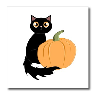 Janna Salak Designs Halloween - Cute Halloween Black Cat and Pumpkin - 10x10 Iron on Heat Transfer for White Material (ht_242327_3)