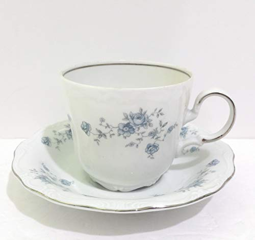 Johann Haviland Blue Garland Bavarian Flat Cup & Saucer Set of 4