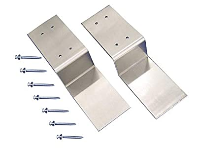 "Drop Open Bar Security Door Lock Bracket Brackets Fits 2x4 Boards Lumber 2.4"" Wide (1 Pair 2 Pieces Include Screws and Gaskets)"