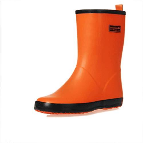 Planas color Señoras Amarillo Impermeable Botas Las Tamaño Goma 35 Orange De Mate Del Lluvia Purple FxvCg