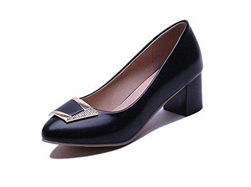 XIE Superficial de la Boca Zapatos de Metal de Corte Grueso Tacón Cómodo con los Zapatos de Las Mujeres, White, 39 BLACK-37